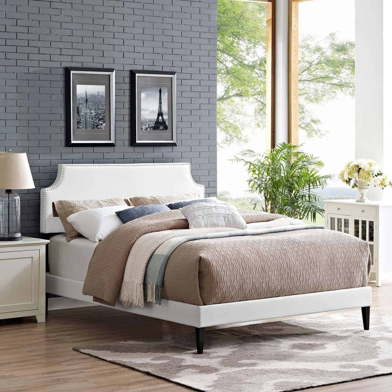 Corene Queen Vinyl Platform Bed with Squared Tapered Legs in White