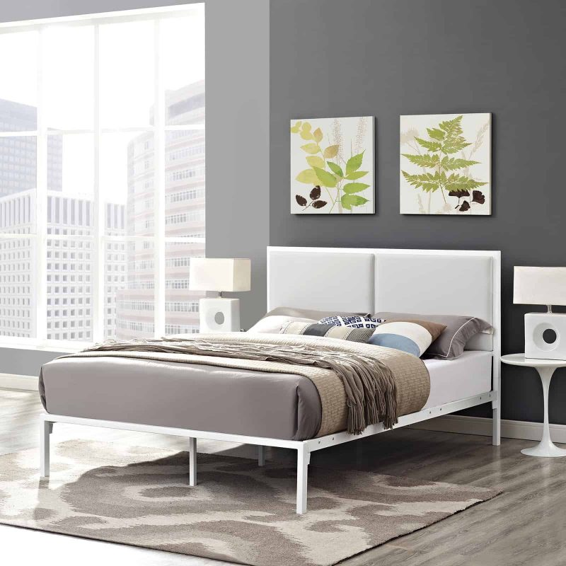 Della King Vinyl Bed in White White