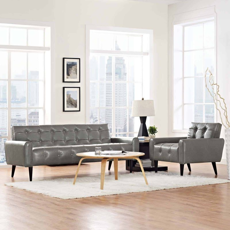 Delve 2 Piece Upholstered Vinyl Sofa and Armchair Set in Gray