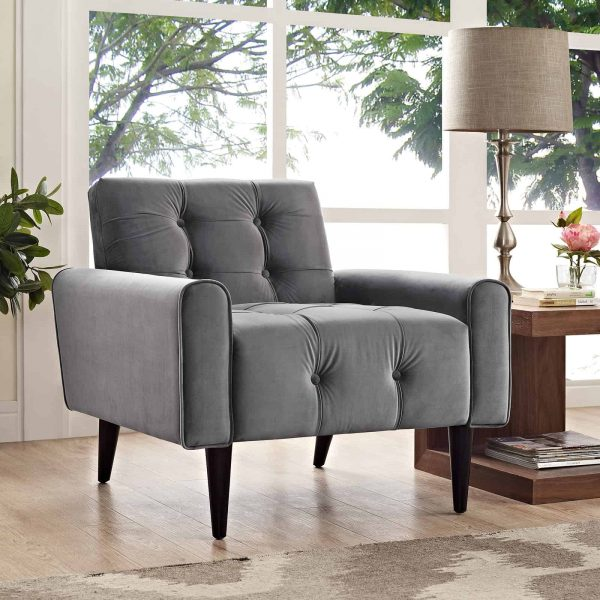 Delve Performance Velvet Armchair in Gray