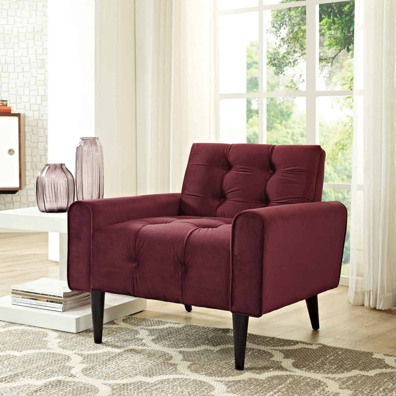 Delve Performance Velvet Armchair in Maroon