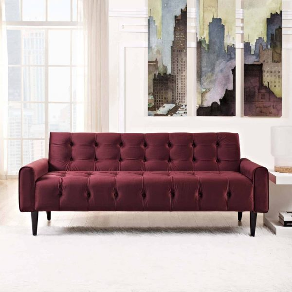 Delve Performance Velvet Sofa in Maroon