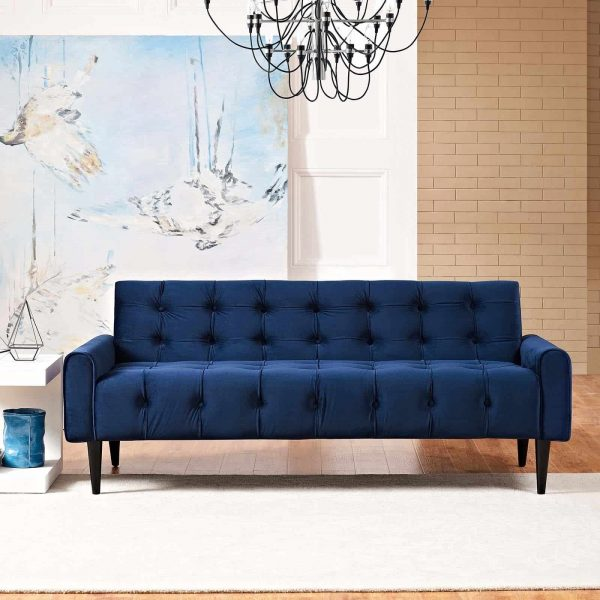 Delve Performance Velvet Sofa in Navy