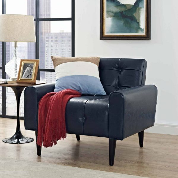 Delve Upholstered Vinyl Accent Chair in Blue