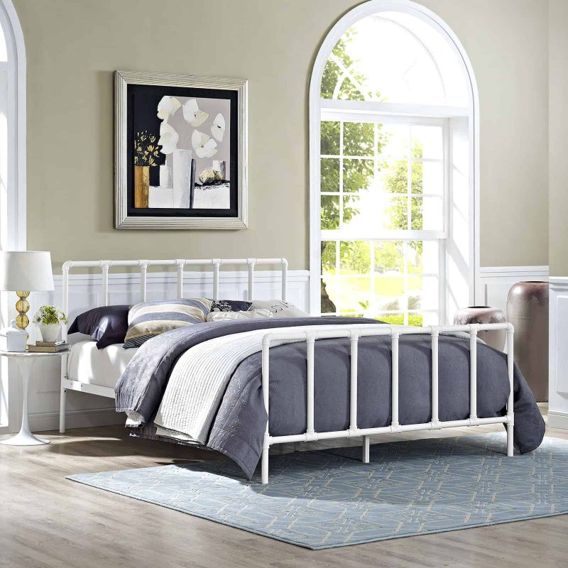 Dower Queen Stainless Steel Bed in White