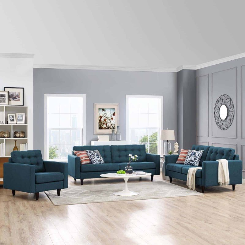 Empress Sofa, Loveseat and Armchair Set of 3 in Azure