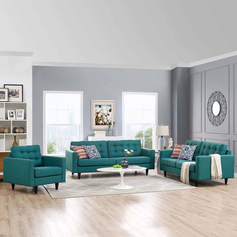 Empress Sofa, Loveseat and Armchair Set of 3 in Teal