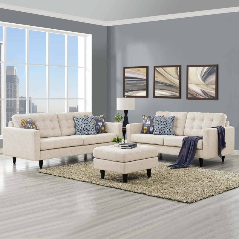 Empress Sofa and Loveseat Set of 2 in Beige