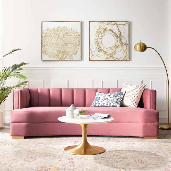 Encompass Channel Tufted Performance Velvet Curved Sofa in Dusty Rose