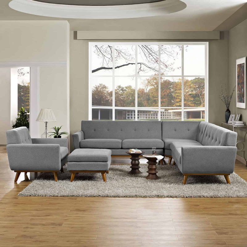 Engage 5 Piece Sectional Sofa in Expectation Gray