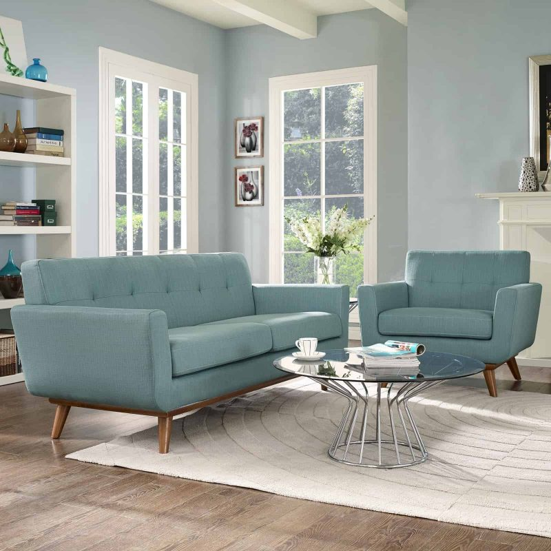 Engage Armchair and Loveseat Set of 2 in Laguna