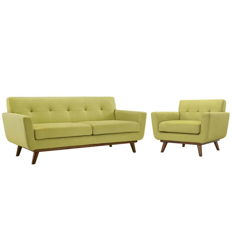 Engage Armchair and Loveseat Set of 2 in Wheat