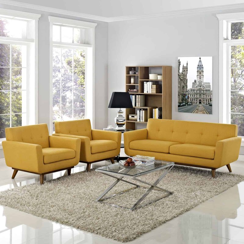 Engage Armchairs and Loveseat Set of 3 in Citrus