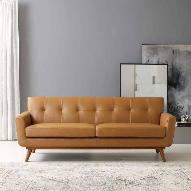 Engage Top-Grain Leather Living Room Lounge Sofa in Tan