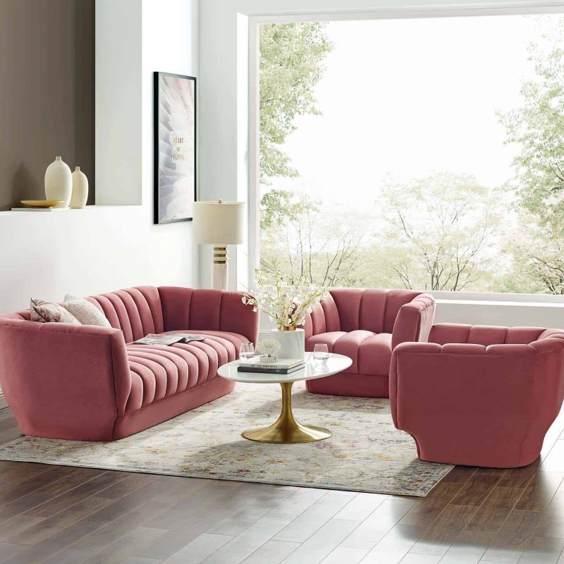 Entertain Vertical Channel Tufted Performance Velvet 3 Piece Set in Dusty Rose