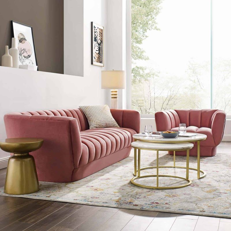 Entertain Vertical Channel Tufted Performance Velvet Sofa and Armchair Set in Dusty Rose
