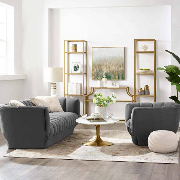 Entertain Vertical Channel Tufted Performance Velvet Sofa and Armchair Set in Gray