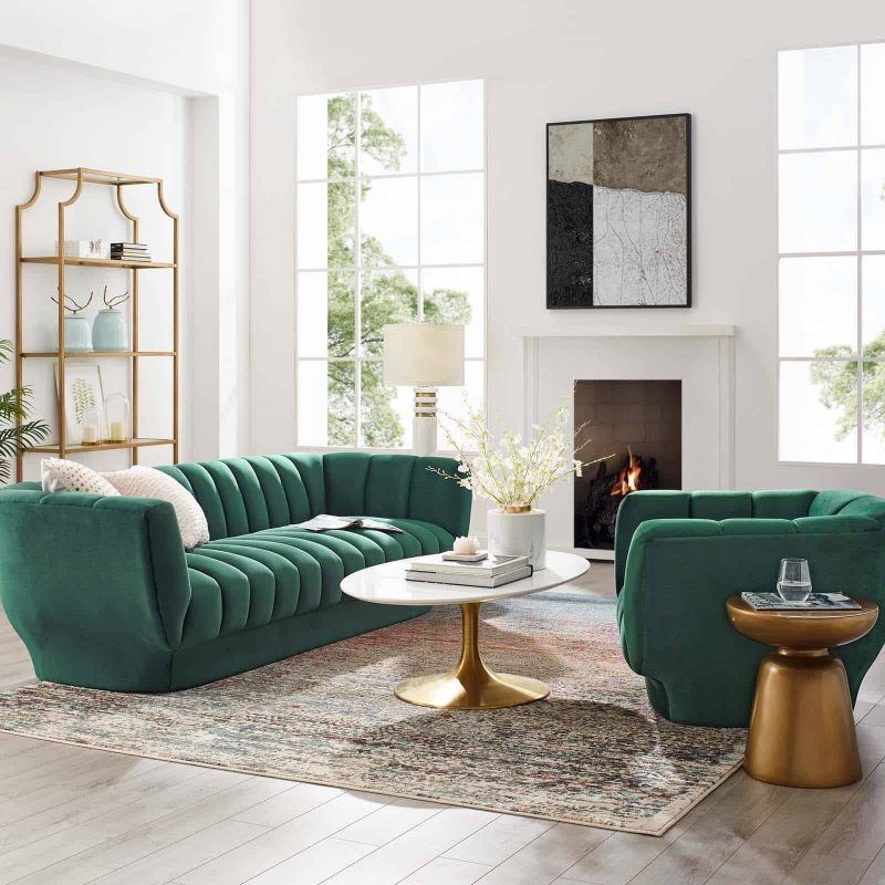 Entertain Vertical Channel Tufted Performance Velvet Sofa and Armchair Set in Green