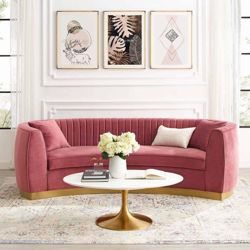 Enthusiastic Vertical Channel Tufted Curved Performance Velvet Sofa in Dusty Rose