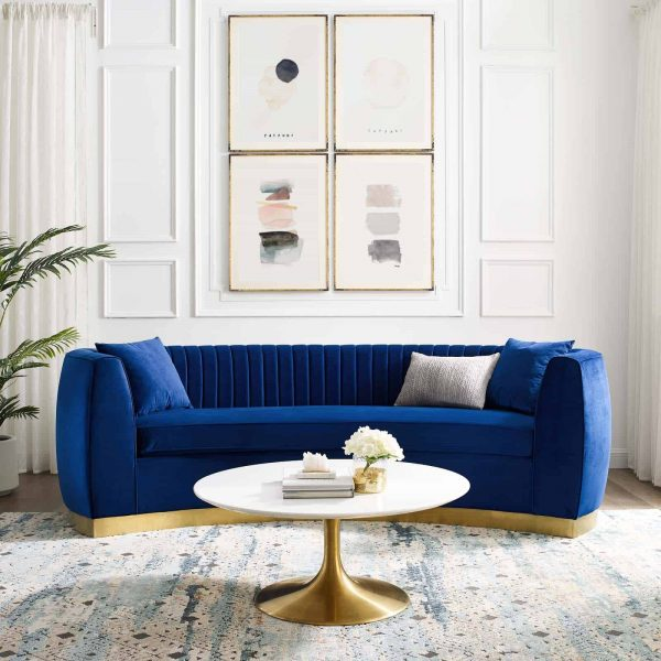 Enthusiastic Vertical Channel Tufted Curved Performance Velvet Sofa in Navy