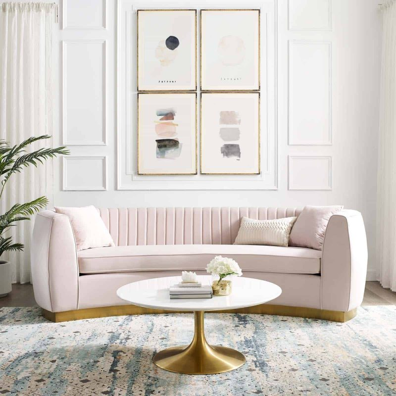 Enthusiastic Vertical Channel Tufted Curved Performance Velvet Sofa in Pink