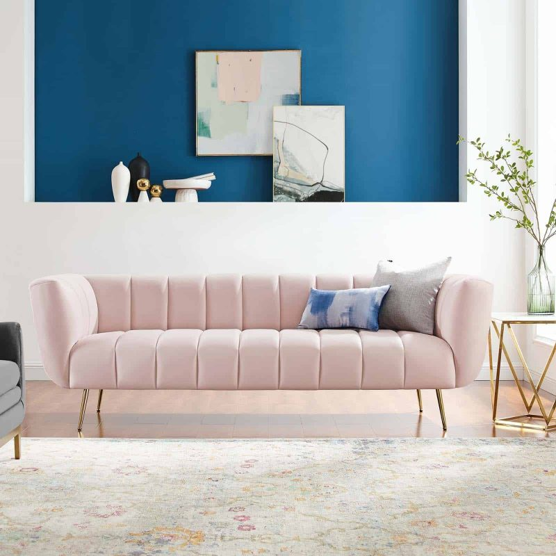 Favour Channel Tufted Performance Velvet Sofa in Pink
