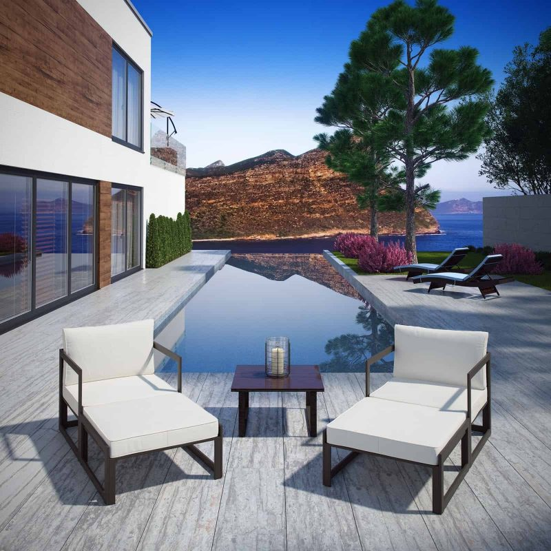 Fortuna 5 Piece Outdoor Patio Sectional Sofa Set in Brown White