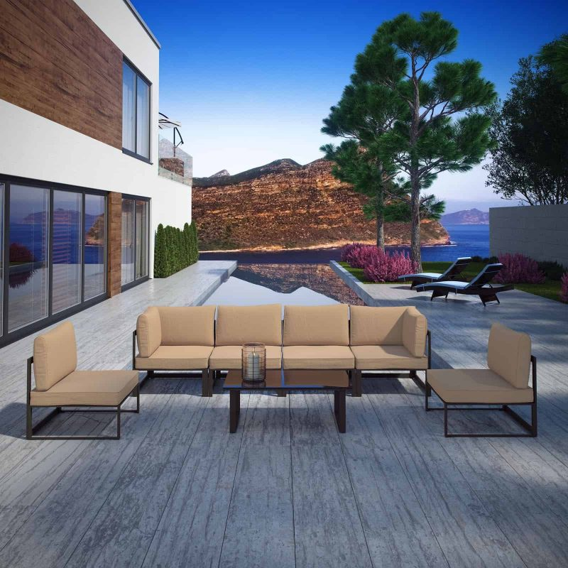 Fortuna 7 Piece Outdoor Patio Sectional Sofa Set in Brown Mocha