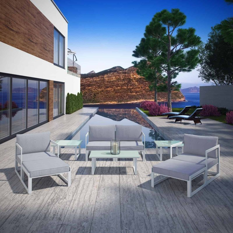 Fortuna 9 Piece Outdoor Patio Sectional Sofa Set in White Gray
