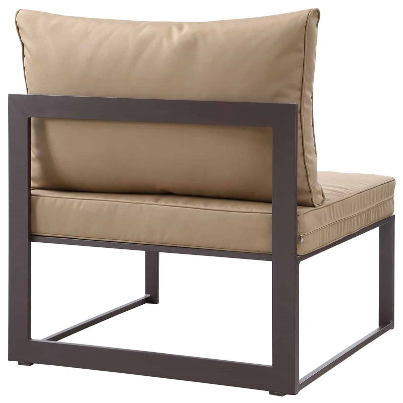 Fortuna Armless Outdoor Patio Chair in Brown Mocha