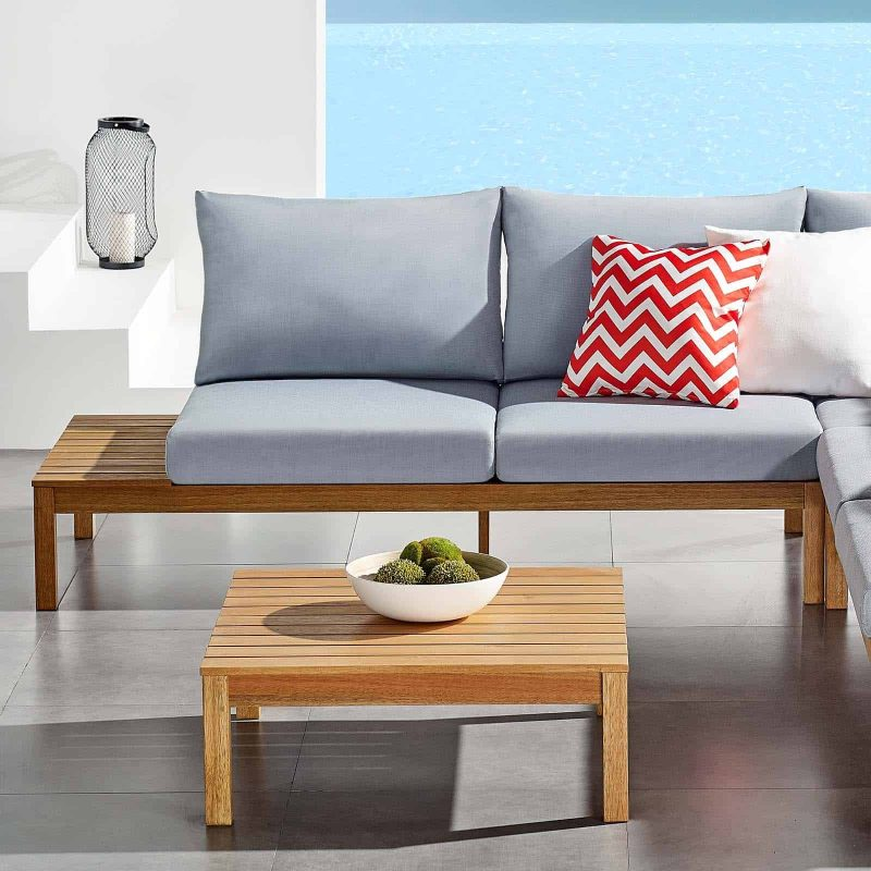 Freeport Karri Wood Outdoor Patio Loveseat with Left-Facing Side End Table in Natural Light Blue