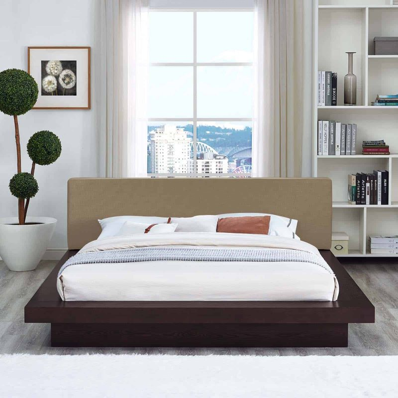 Freja Queen Fabric Platform Bed in Cappuccino Latte