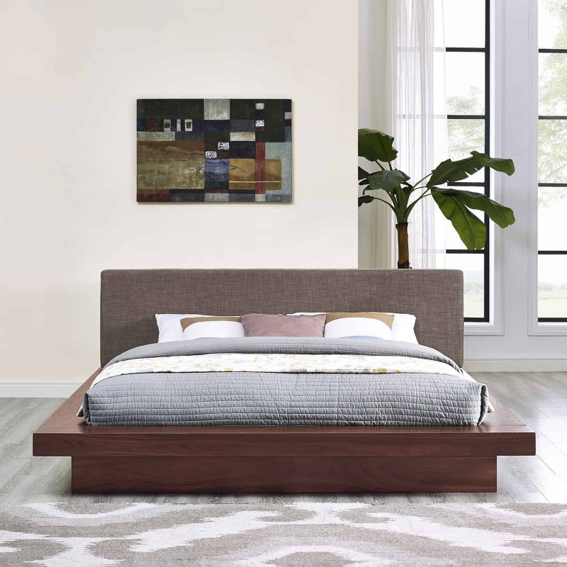 Freja Queen Fabric Platform Bed in Walnut Brown