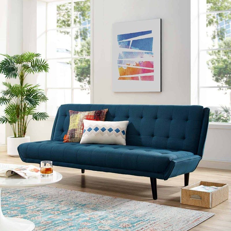 Glance Tufted Convertible Fabric Sofa Bed in Azure