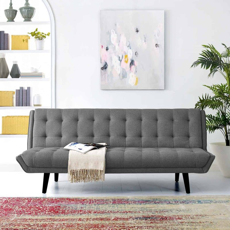 Glance Tufted Convertible Fabric Sofa Bed in Gray