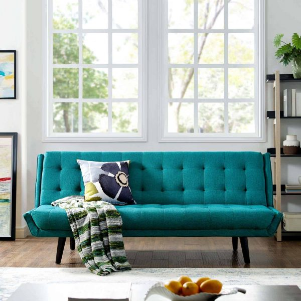 Glance Tufted Convertible Fabric Sofa Bed in Teal