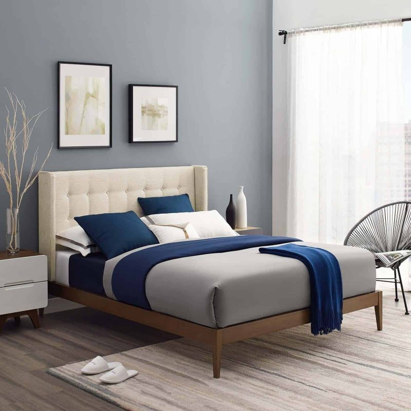 Hadley Queen Wingback Upholstered Polyester Fabric Platform Bed in Beige