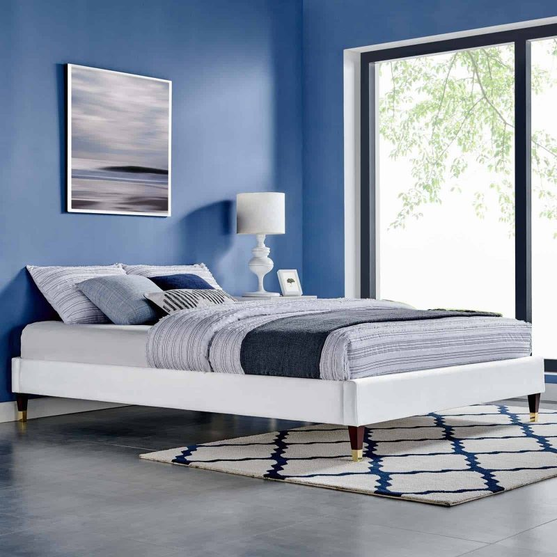 Harlow King Performance Velvet Platform Bed Frame in White