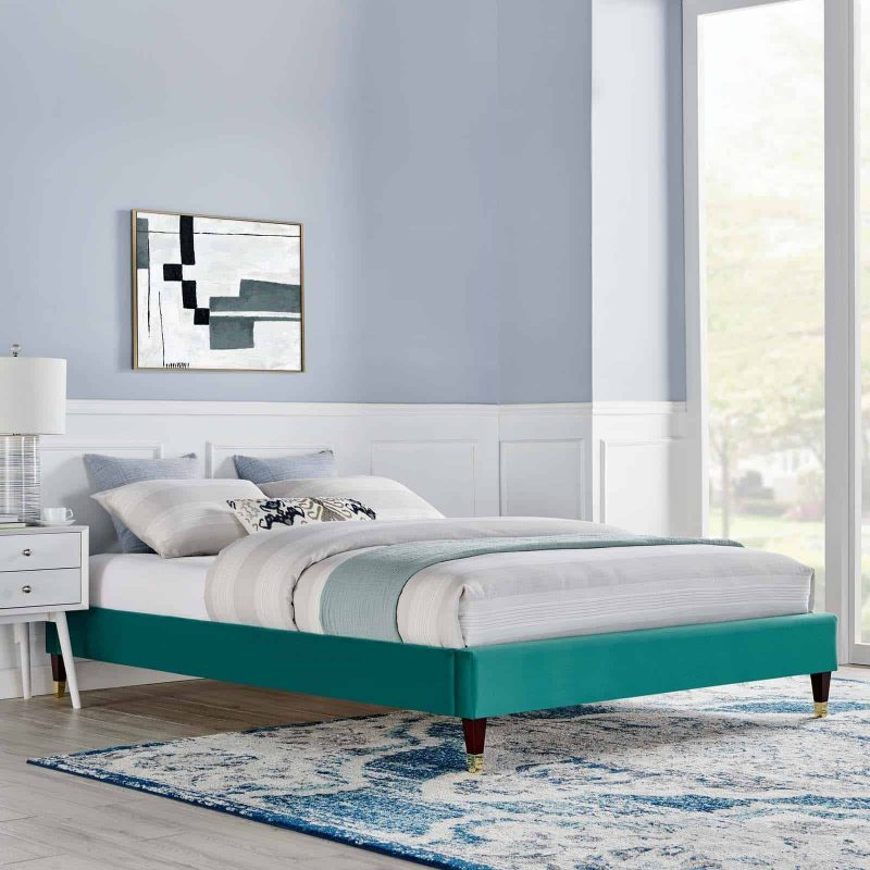 Harlow Queen Performance Velvet Platform Bed Frame in Teal