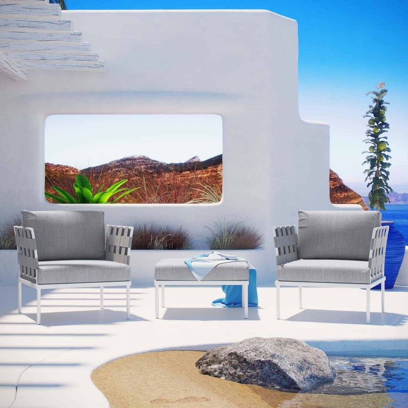Harmony 3 Piece Outdoor Patio Aluminum Sectional Sofa Set in White Gray