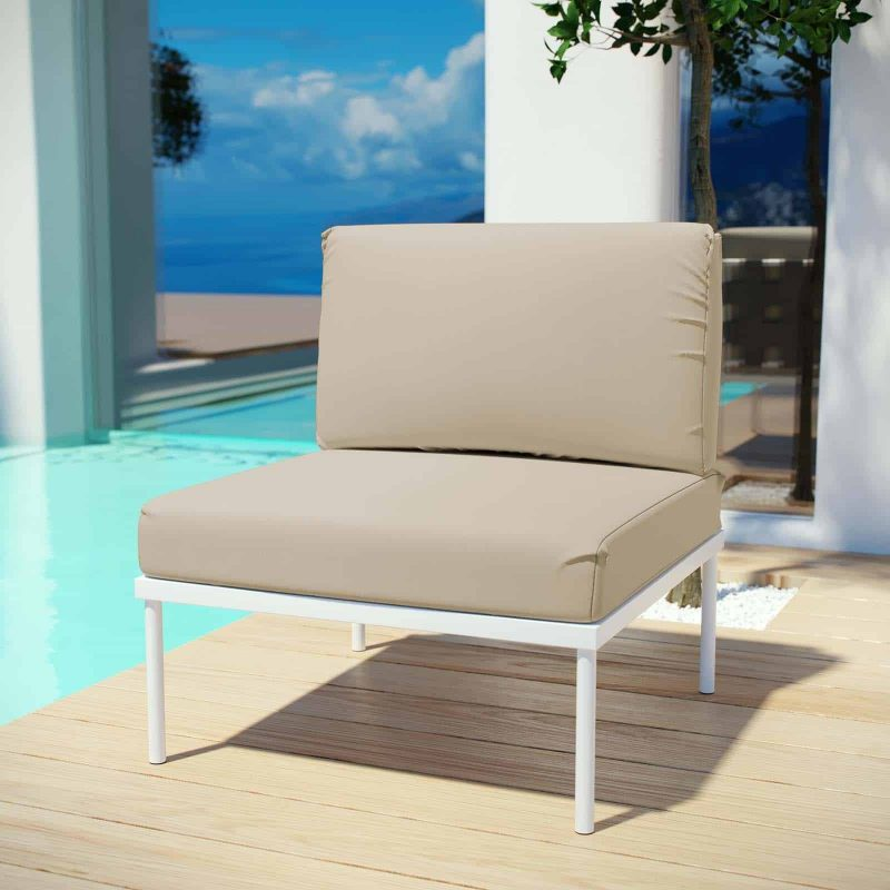 Harmony Armless Outdoor Patio Aluminum Chair in White Beige