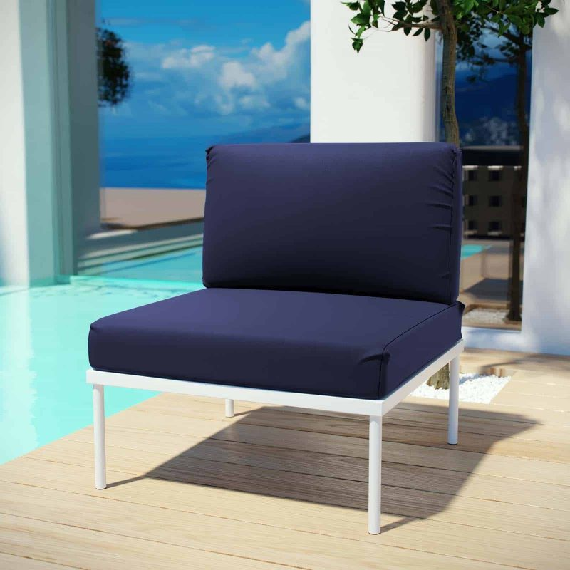 Harmony Armless Outdoor Patio Aluminum Chair in White Navy