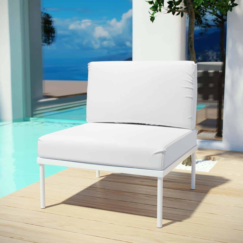 Harmony Armless Outdoor Patio Aluminum Chair in White White