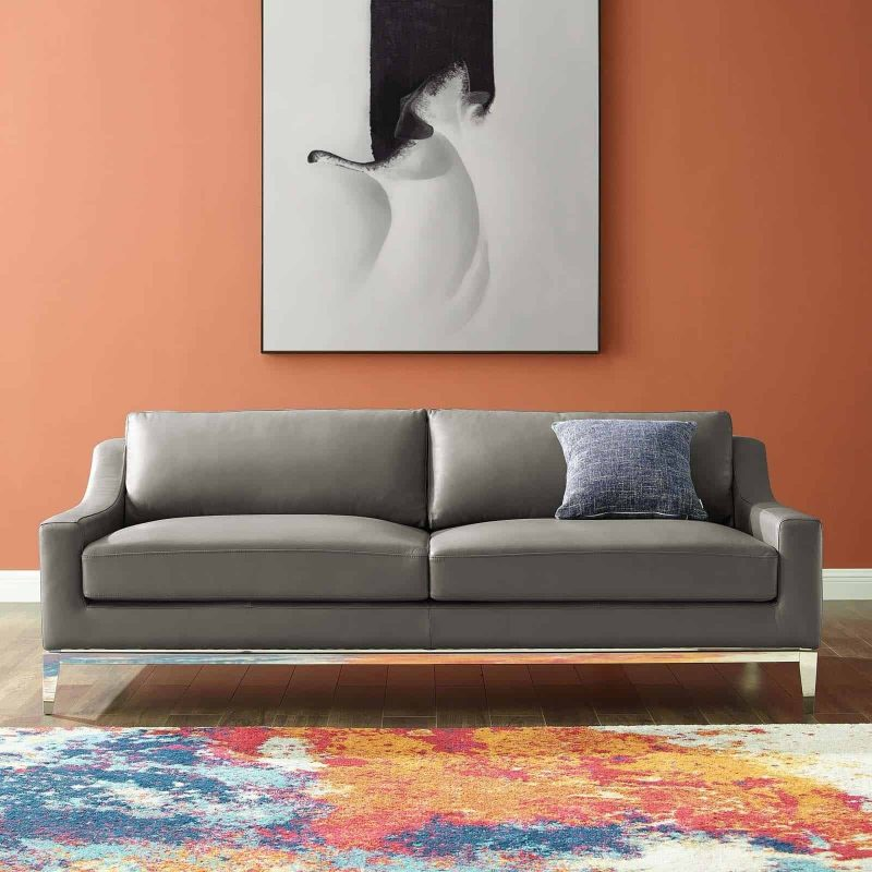 "Harness 83.5"" Stainless Steel Base Leather Sofa in Gray"