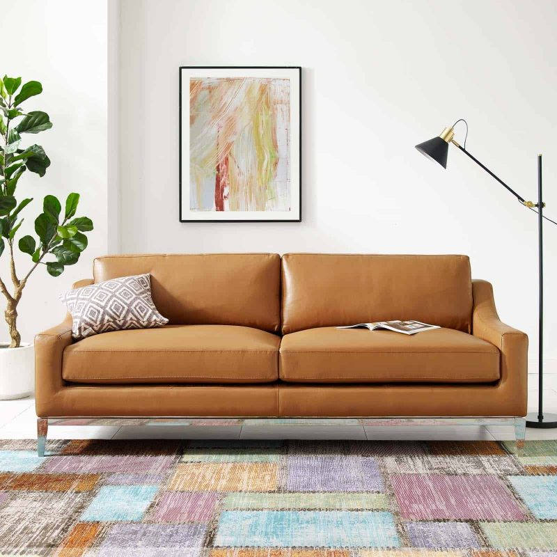 """Harness 83.5"""" Stainless Steel Base Leather Sofa in Tan"""