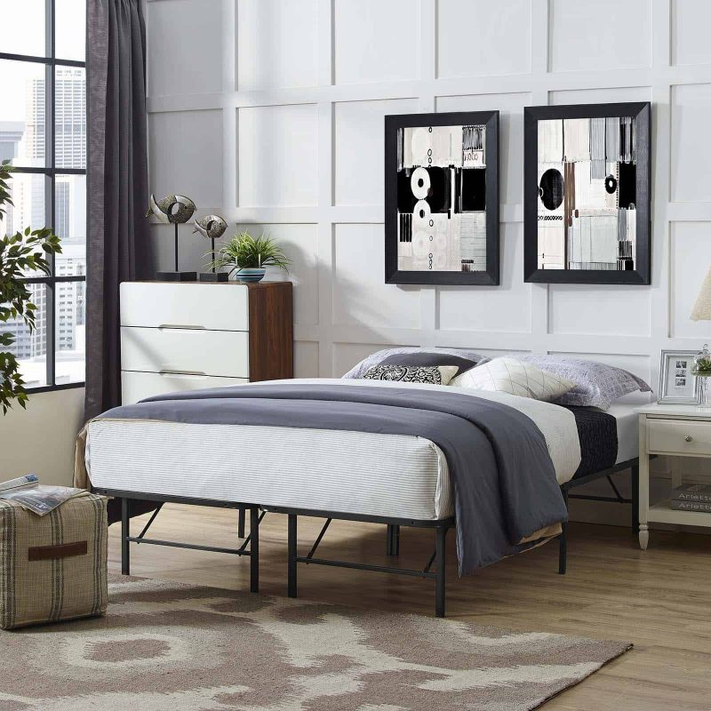 Horizon Queen Stainless Steel Bed Frame in Brown