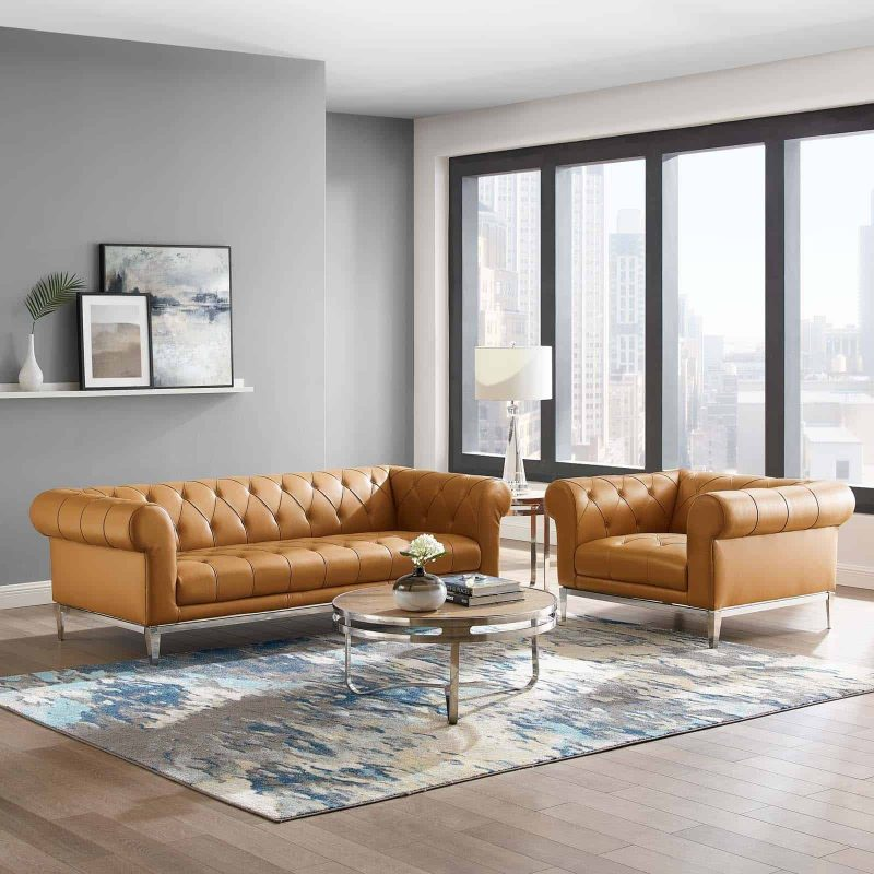 Idyll Tufted Upholstered Leather Sofa and Armchair Set in Tan