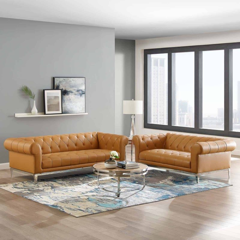 Idyll Tufted Upholstered Leather Sofa and Loveseat Set in Tan