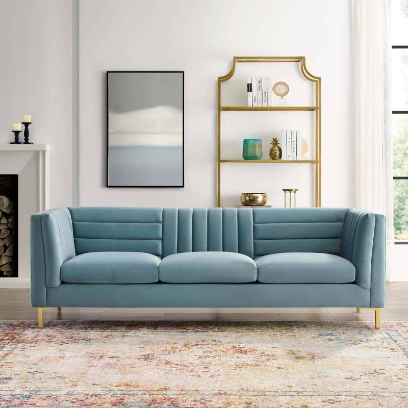 Ingenuity Channel Tufted Performance Velvet Sofa in Light Blue