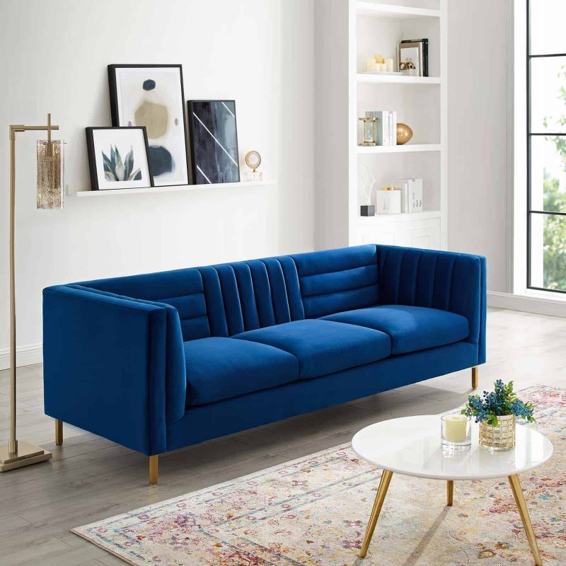 Ingenuity Channel Tufted Performance Velvet Sofa in Navy